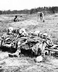 Photo of skeletal remains from the Battle of Gaines' Mill awaiting burial.