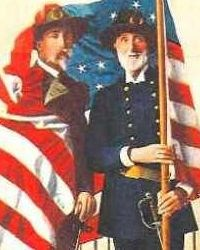 Turn of the century post card showing elderly Union and Confederate veterans in uniform, draped in United States flag.