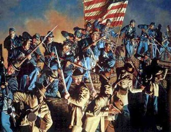Painting of 54th Massachusetts Infantry attacking Fort Wagner