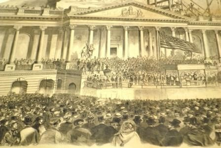 Print from frank leslies newspaper on inauguration