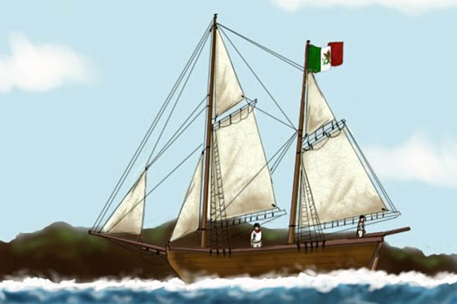 Modern rendering of the Peor es Nada, the schooner that took native islanders from San Nicolas Island to the mainland in 1835. Illustration by Elizabeth Chapin.