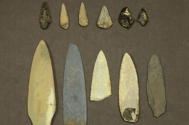 Stone projectile points for spears and arrows. Found on San Nicolas Island in cache from 1800s. Courtesy of Department of Anthropology, California State University, Los Angeles.