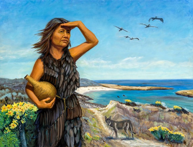 Painting of Lone Woman overlooking Corral Harbor on San Nicolas Island