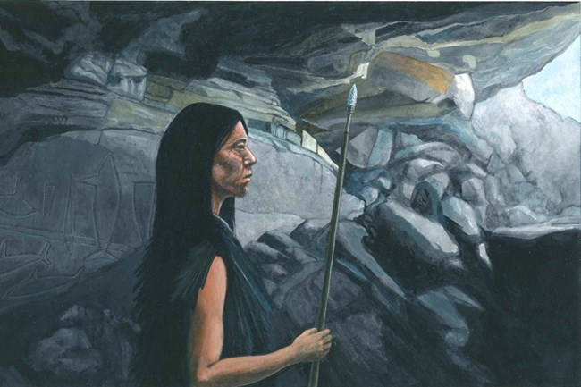 Artist's impression of the Lone Woman in Cave of the Whales on San Nicolas Island. Illustration by Michael Ward.