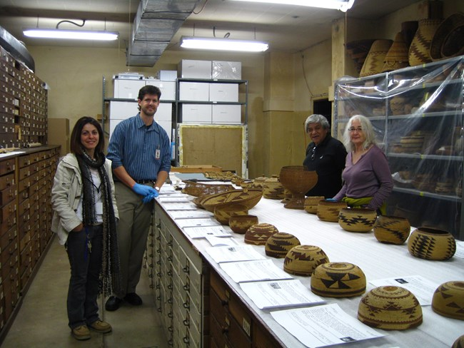 Consultation on Karuk baskets at the San Diego Museum of Man.
