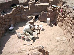 Archeologist working in the kiva at Grand Canyon National Park
