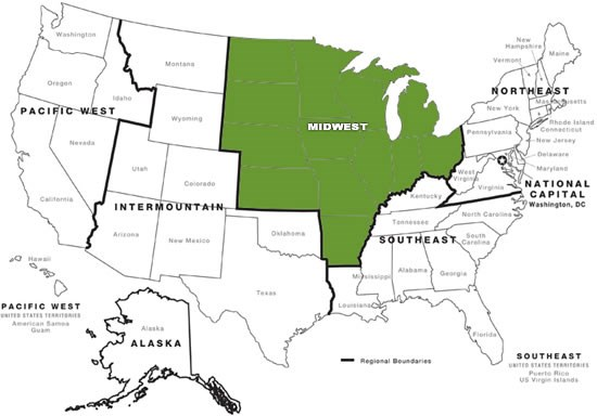Map Of Midwest Region Contact Us   Midwest Region   National Historic Landmarks (U.S.  Map Of Midwest Region