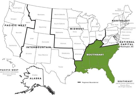 Us Southeast Region Map Contact Us   Southeast Region   National Historic Landmarks (U.S.