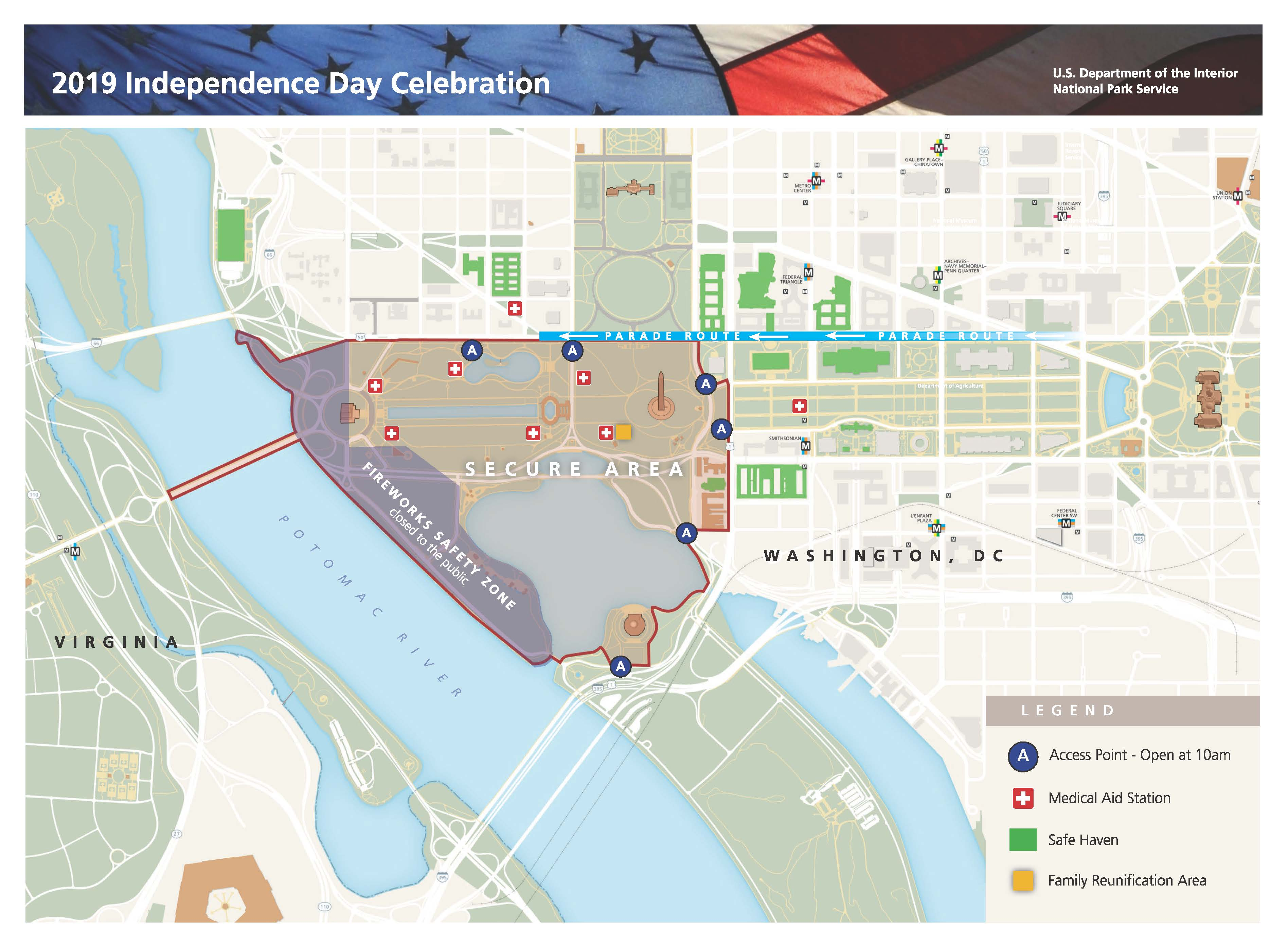 photo regarding Printable Map of Washington Dc Mall identified as Maps - Washington, DC, Fourth of July Social gathering (U.S.