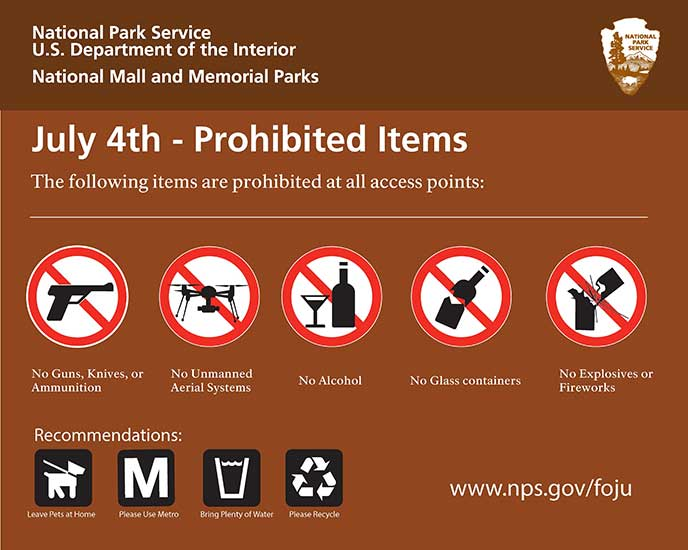 Prohibited Items National Mall Fourth Of July