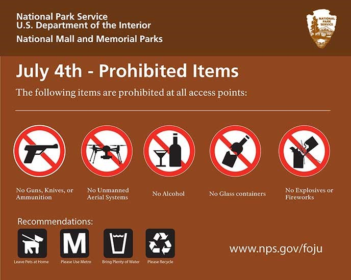Prohibited Items Guns, knives, or ammunition Unmanned aerial systems (drones) Alcohol Glass containers Explosives or fireworks