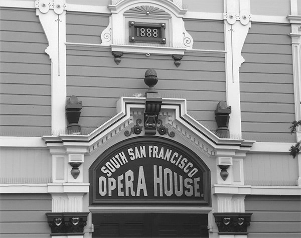 Front sign for South San Francisco Opera House (now known as the Bayview Opera House)
