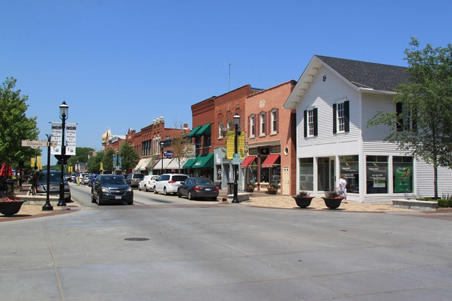 Streetview of commercial district with street and storefronts