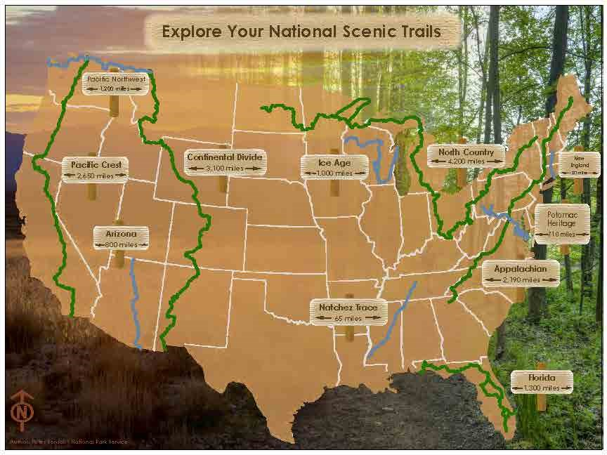 Map of the 11 National Scenic Trails
