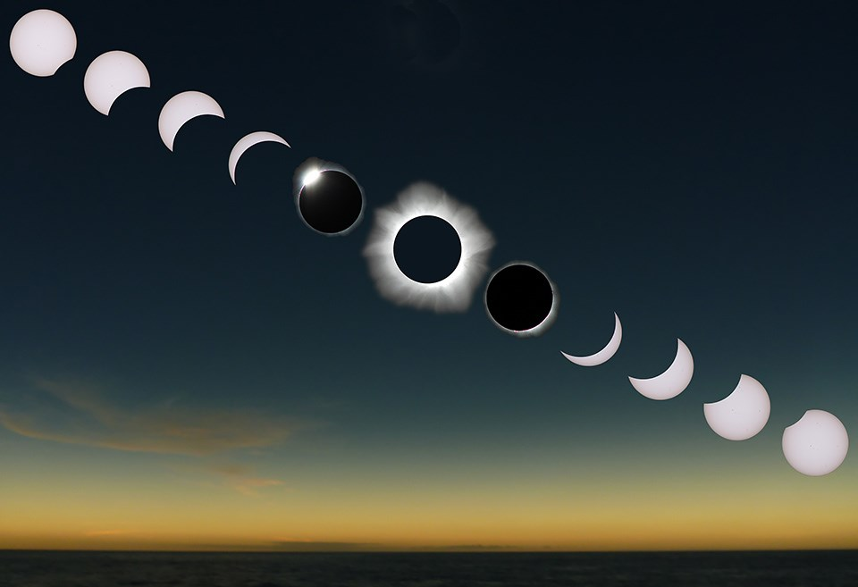 A sequence of a total solar eclipse runs across the screen