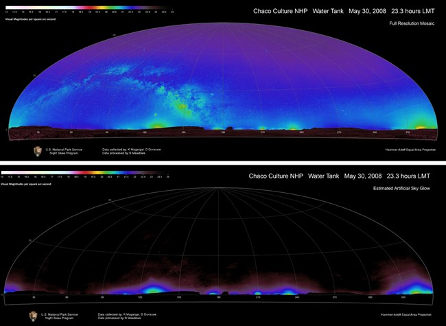 "Data mosaic of Chaco Culture National Historical Park shows ""all sky"" brightness and estimated artificial sky glow"
