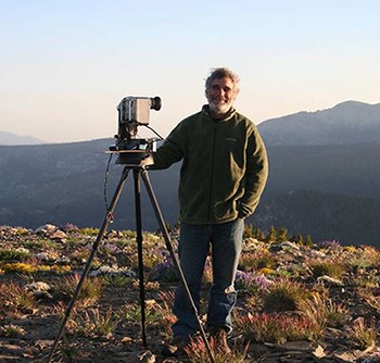 NPS Scientist Dan Duriscoe with camera equipment used to measure light pollution and sky quality