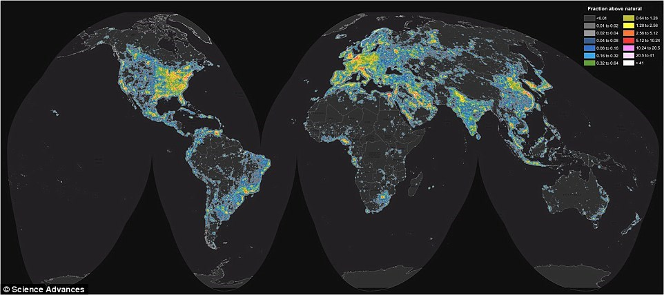New World Atlas light pollution map shows extent of light pollution across the globe. To view an interactive version of the new global atlas, use this link: https://cires.colorado.edu/artificial-sky Graphic credit: Falchi et al., Science Advances, includi