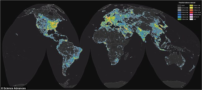 Light Pollution Night Skies US National Park Service - Us at night map