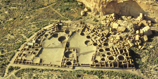 Aerial view of Chaco Culture National Historic Park, New Mexico