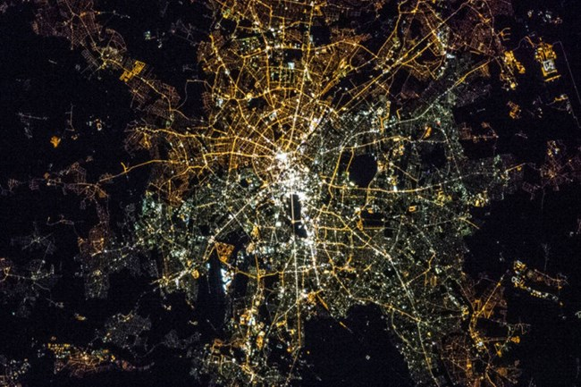 Satellite view of Berlin shows sprawling city lights