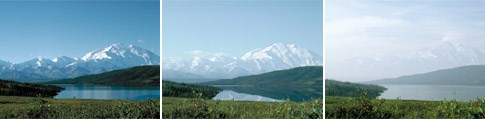 Air pollutants and wildfire smoke can reduce visibility at Denali NP & Pres, Alaska  (clear to hazy from left to right)