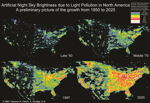 Simulation of light pollution growth in the United States: 1950s, 1970s, 1990s, and projected to 2025. Graphic by Cinzano, P., Falchi, F. (University of Padova), Elvidge, C. D. (NOAA National Geophysical Data Center, Boulder). Copyright Royal Astronomical