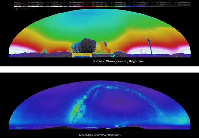 Two major observatories compared, Palomar Mountain, California in 2006, and Mauna Kea, Hawaii in 2011.