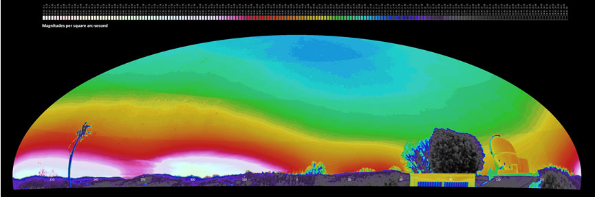False color negative, panoramic image from Palomar Observatory (California Institute of Technology) identifies natural and human-caused sky brightness
