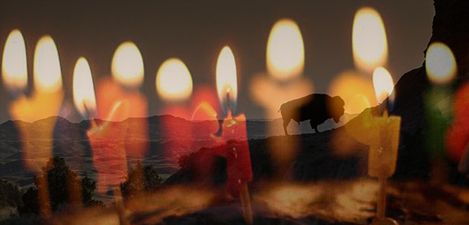 Birthday candles superimposed over image of bison on ridgeline
