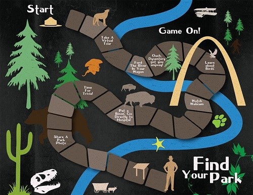 "Illustration of a board game with park-related images and text ""Find Your Park"""