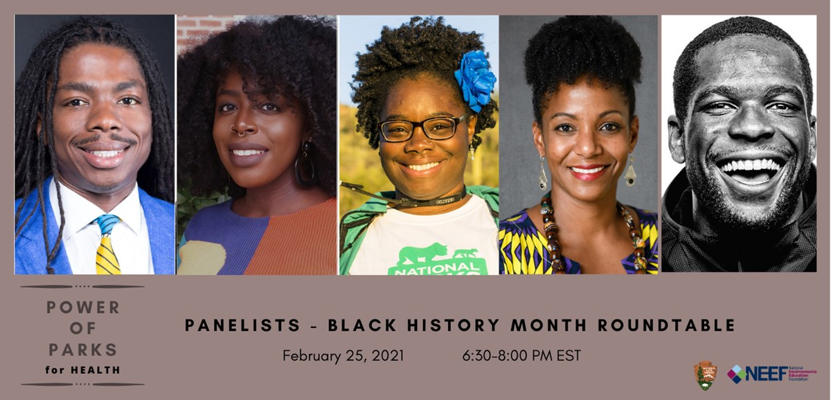 Graphic for a Black History Month Roundtable event, detailed alternative text is on the webpage