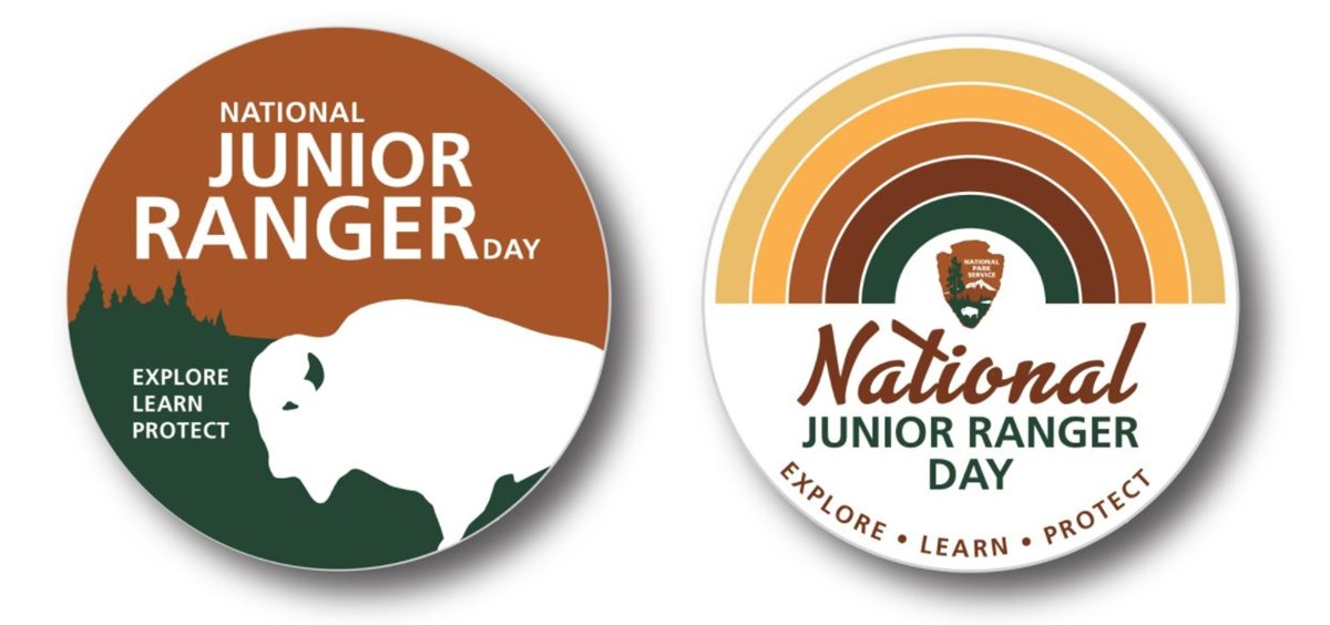 "Button with a bison and trees graphic with text ""NATIONAL JUNIOR RANGER DAY EXPLORE LEARN PROTECT"" and button with NPS arrowhead and earth-tone rainbow and text ""National Junior Ranger Day EXPLORE LEARN PROTECT"""