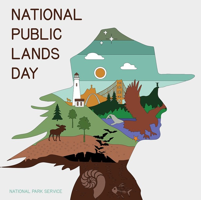 "Illustration of a ranger created with park-related images with text reading ""National Public Lands Day National Park Service"""