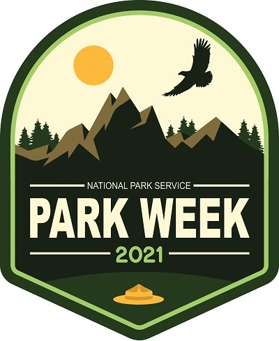 National Park Week 2021 logo with an eagle flying near a mountain