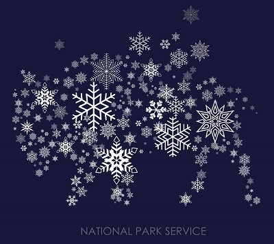 "Graphic of a bison made of snow flakes with text reading ""National Park Service"""