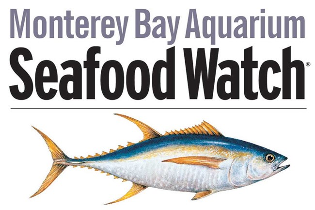 "image of tuna with words ""Monterey Bay Aquarium Seafood Watch"""