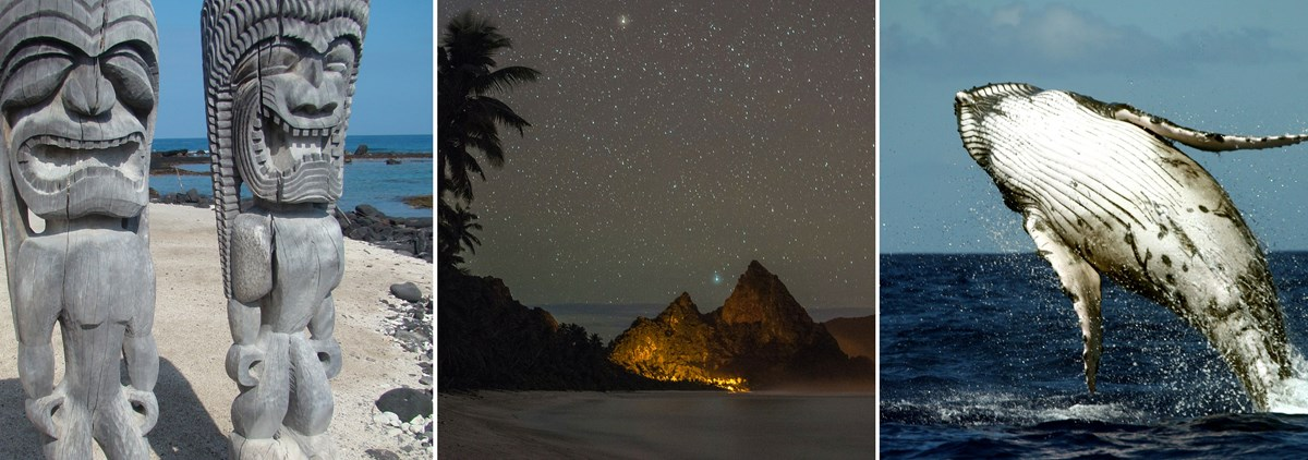 Totem poles, nightsky at National Park of American Samoa, and a whale jumping out of water in Guam