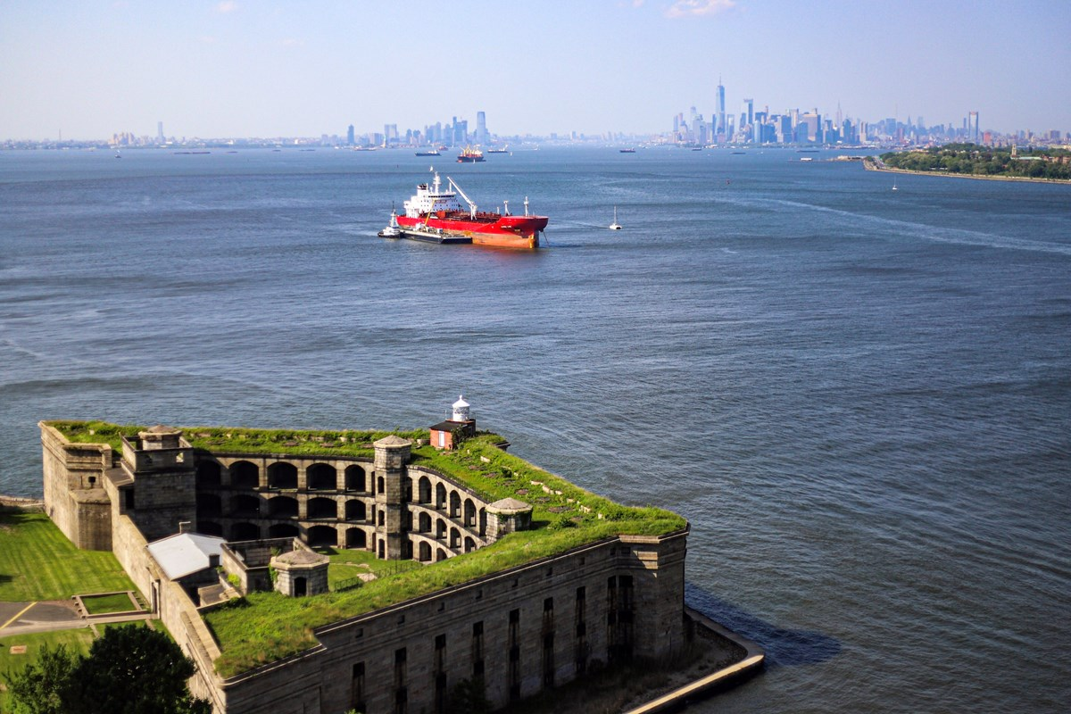 New York City skyline from the Fort Wadsworth Overlook, Battery Weed and Boat in the background