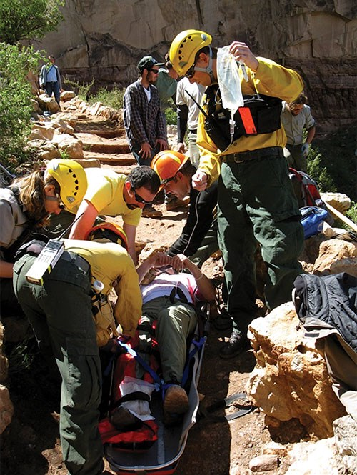 PSAR rangers and helitack staff rescue a hiker on the Bright Angel Trail.