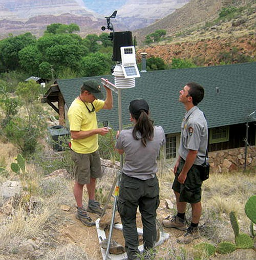 PSAR rangers install a Davis weather station at Indian Garden Ranger Station in 2014.