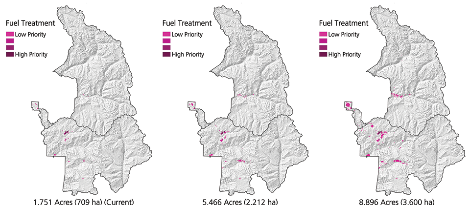 Three maps of Sequoia-Kings Canyon National Park comparing the STARFire-recommended fuel treatments ranging from low to high priority for 1,751-, 5,466-, and 8,896-acre budgets.