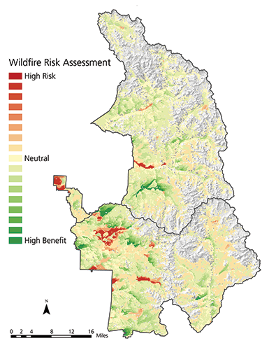 Map of Sequoia–Kings Canyon NPs showing wildfire risk assessment ranging from high risk (in red with least acreage), to neutral (yellow, with second-most area), and to high benefit (green, most area).