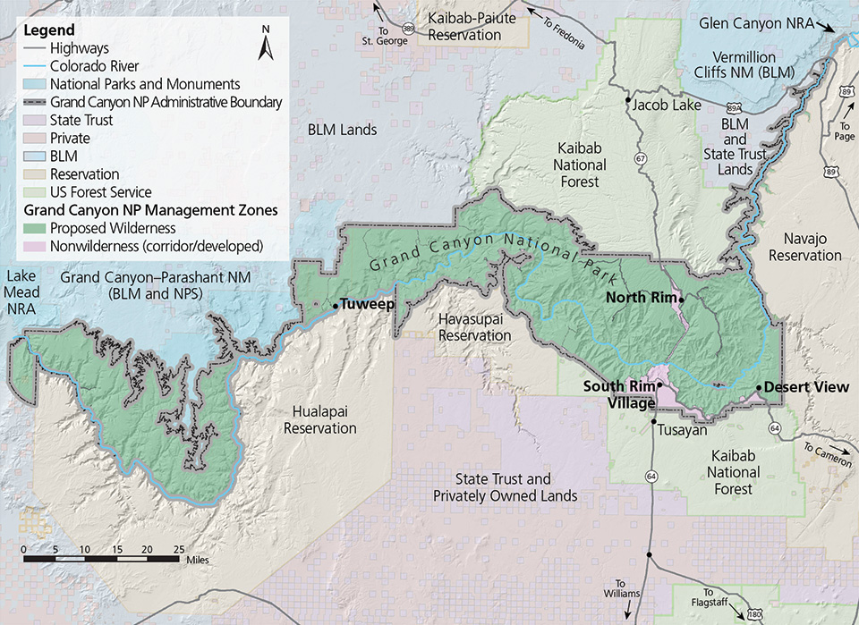 Grand Canyons Corridor Trail System Linking The Past Present - Us canyons boundary map
