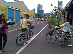 Bicyclists explore city streets closed off to traffic during a day long event.