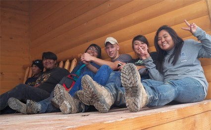 Six Youth Conservation Corps Members taking a break.
