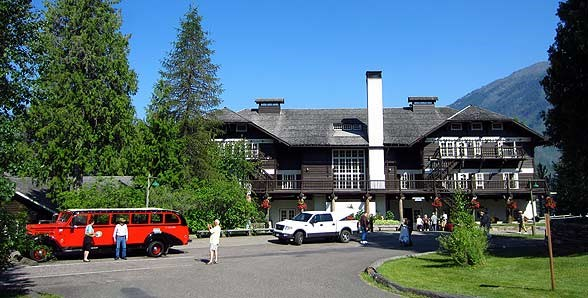 Visitors at Lake McDonald Lodge in Glacier National Park