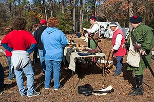 Volunteers reenact a trades fair at Moores Creek National Battlefield.