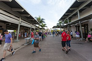 Visitors enter the Pearl Harbor Visitor Center