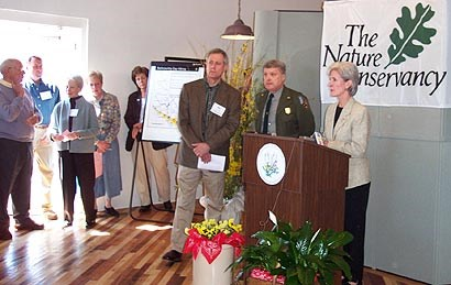 Governor Kathleen Sebelius speaks during a celebration of the new partnership between the Nature Conservancy and the National Park Service.